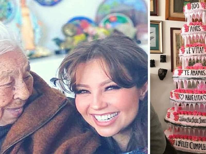 Thalia feliz con su abuela que cumplió 100 años