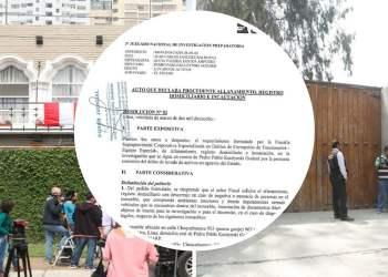 Documento de allanamiento a casas de PPK