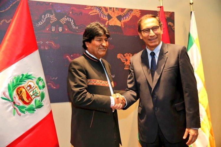El presidente Vizcarra acordó con su homólogo Evo Morales trabajar la construcción del Corredor Ferroviario Bioceánico Central Perú – Bolivia.