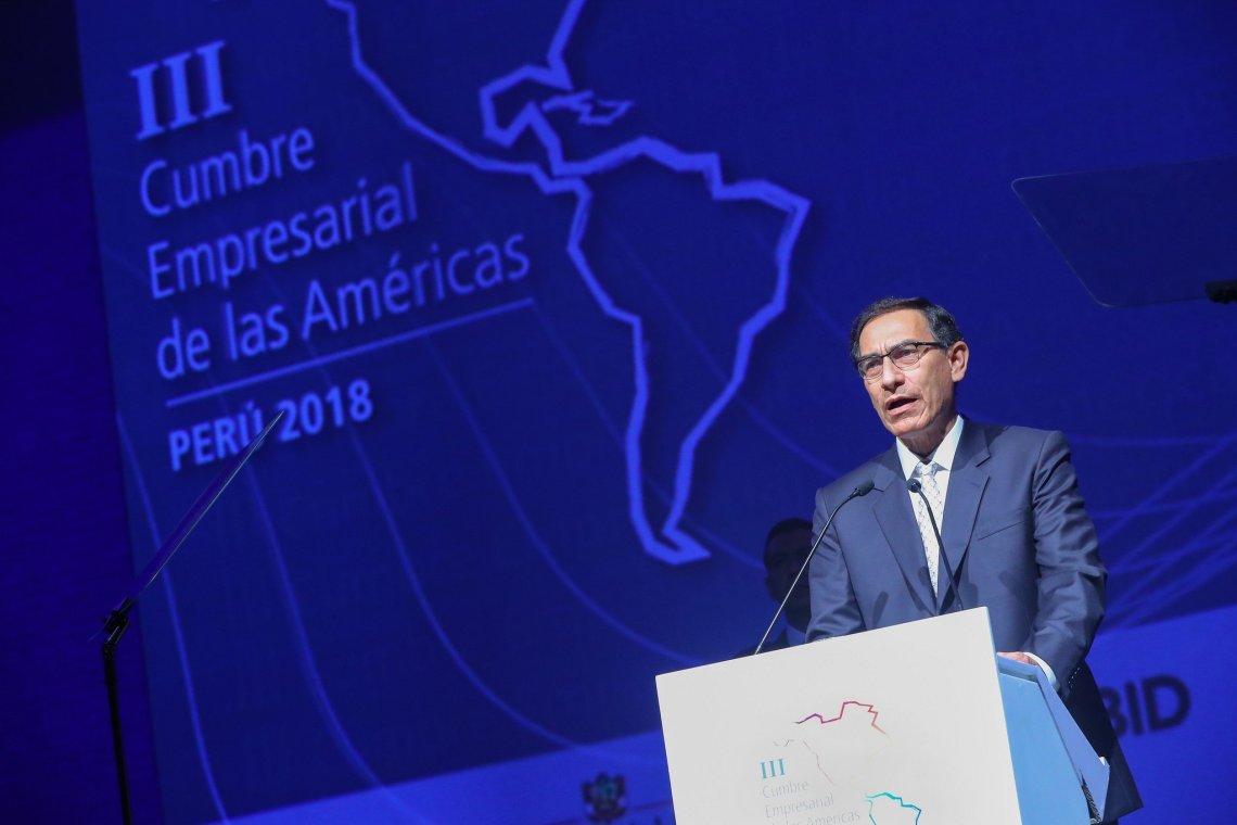 El presidente Vizcarra destacó la importancia de los empresarios de América en el objetivo de alcanzar el crecimiento económico de sus pueblos.