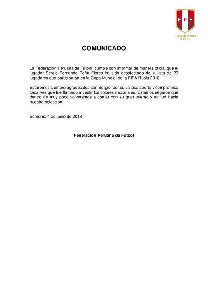 Comunicado Sergio Peña