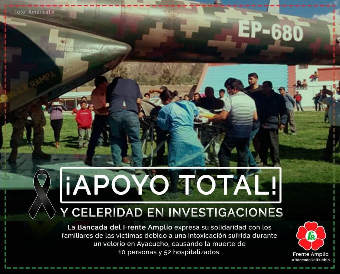 Frente Amplio pide celeridad en investigación por intoxicación en Ayacucho