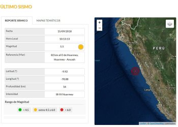 Sismo de 5.5 grados se registró en Huarmey Región Ancash