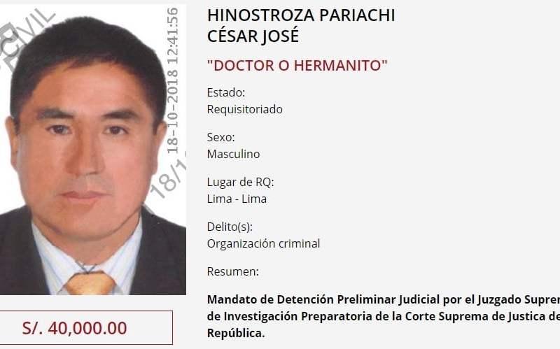César Hinostroza: Ofrecen S/. 40 mil por su ubicación en programa de recompensas