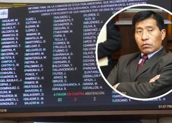 Congresista Moisés Mamani fue suspendido 120 días por tocamientos indebidos