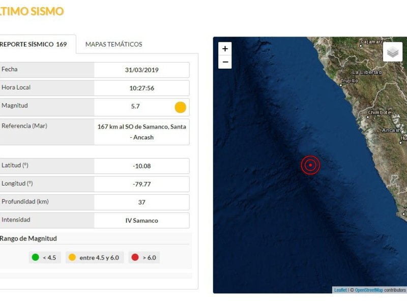 Sismo de 5.7 grados sacudió la costa de Ancash y se sintió en Lima