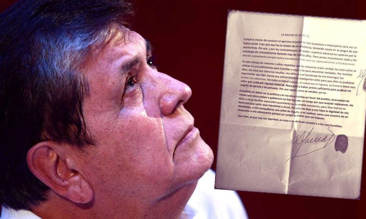 Alan García escribió carta hace semanas y se despidió de alumnos