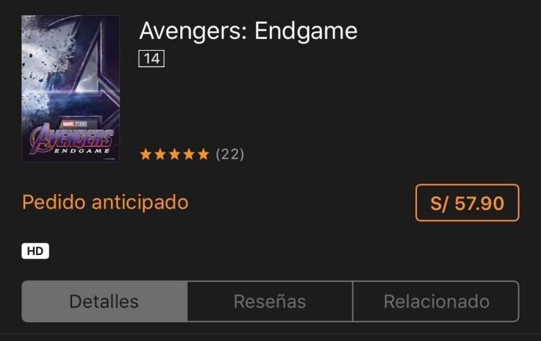 Avengers Endgame online llega primero a Apple