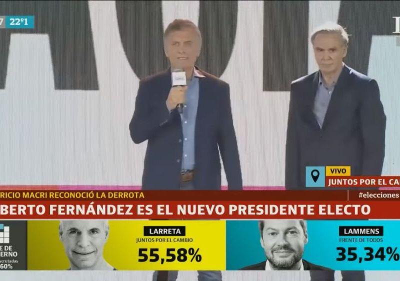 Mauricio Macri felicita a Alberto Fernández y reconoce su derrota