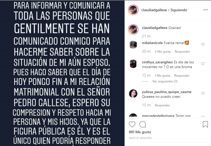Post en Instagram de Claudia Gallese