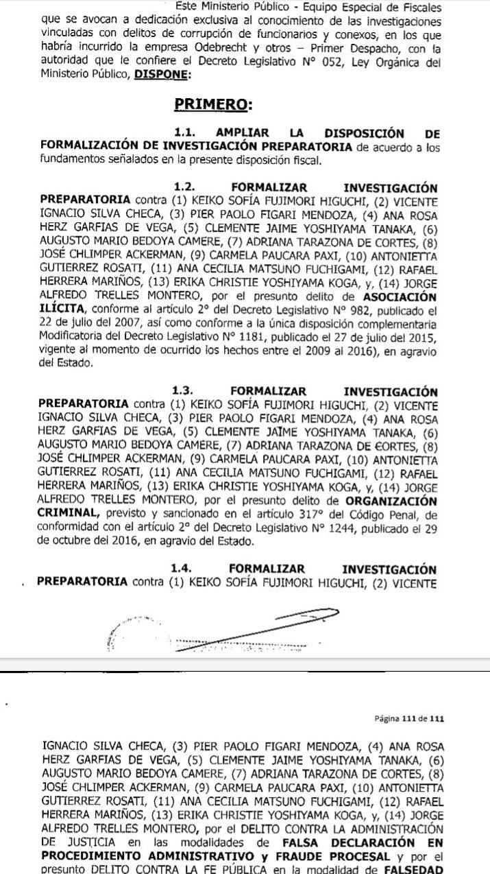 Documento del caso Keiko Fujimori