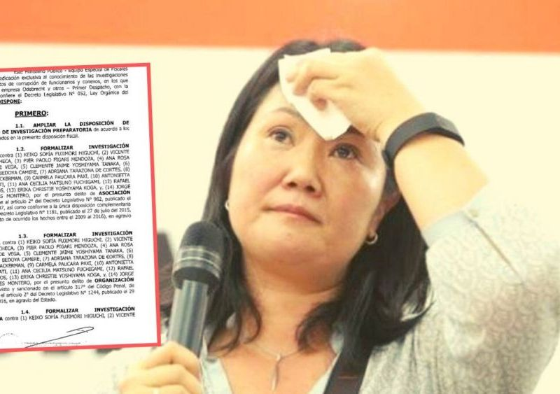 Keiko Fujimori: Fiscal formaliza investigación preparatoria en su contra