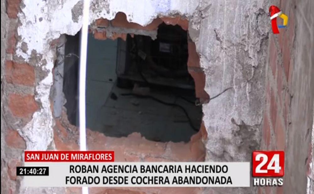 Delincuentes hacen forado y roban banco en San Juan de Miraflores