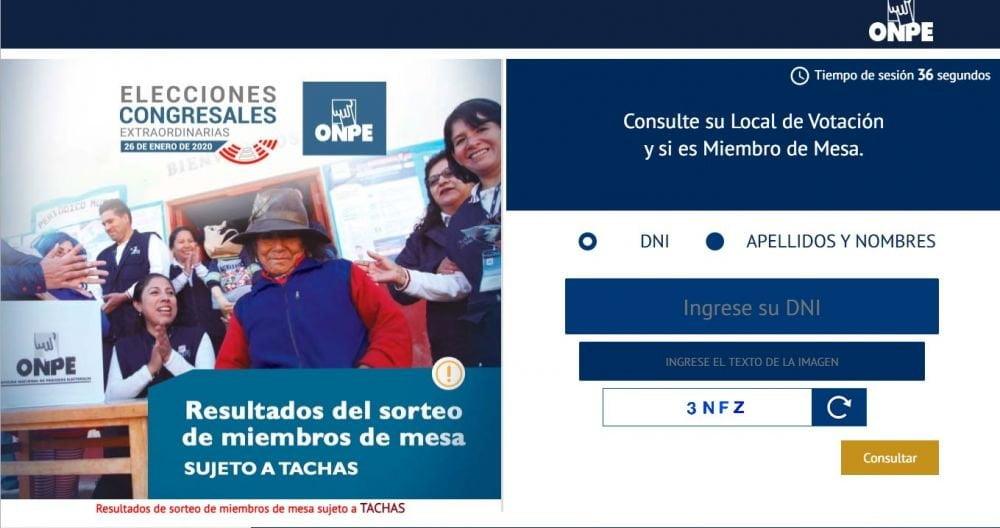 ONPE: Buscar aquí si soy miembro de mesa para elecciones 2020