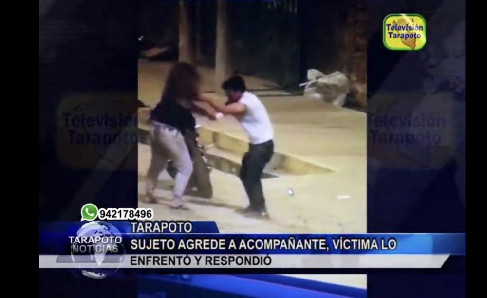 Hombre golpea a mujer en Tarapoto y ella le responde a puño limpio