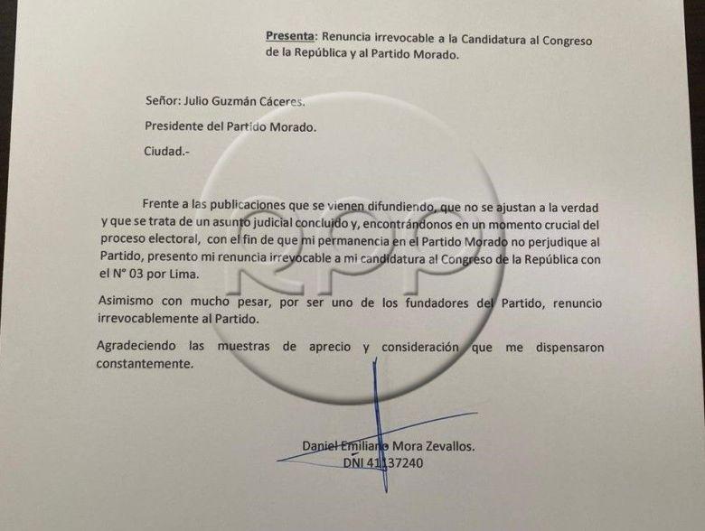 Documento sobre la salida de Daniel Mora
