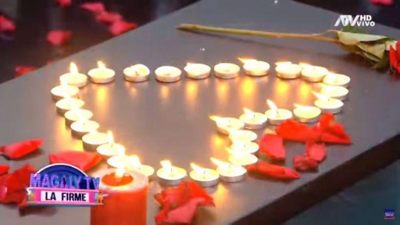 Las velas que formaban un corazón al detalle