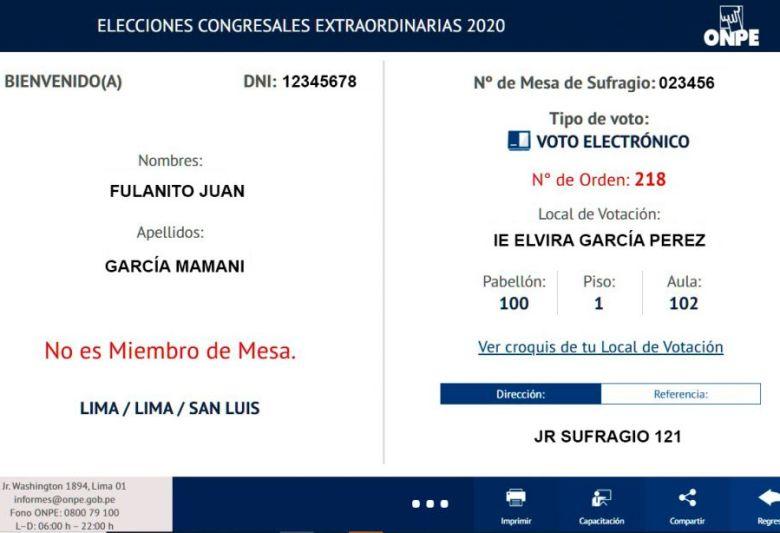 Resultado de la consulta donde votar