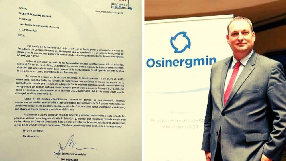 Renunció presidente de Osinergmin, Daniel Schmerler, tras caso VES