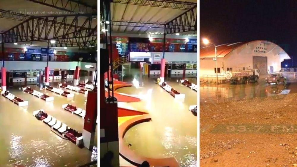 Huaico en Tacna inundó terminal terrestre y sede del COER