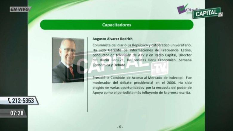 Documento donde se presenta a Augusto Álvarez Rodrich como expositor