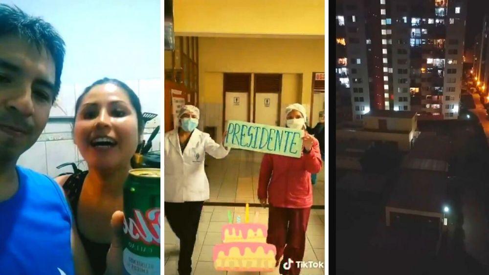 Desde casas y edificios le cantaron feliz cumpleaños al presidente Martín Vizcarra