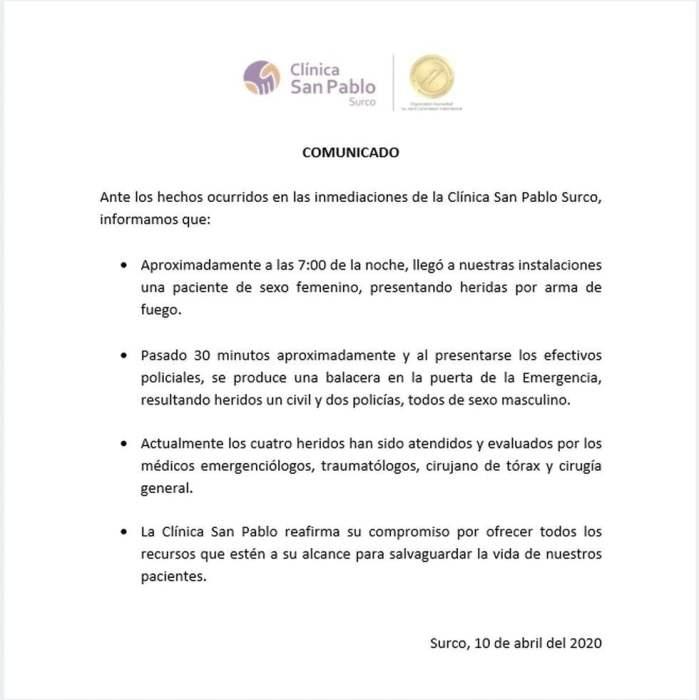 Comunicado clínica San Pablo