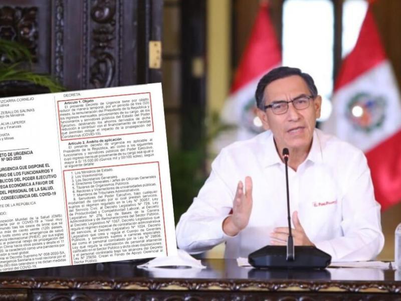 Martín Vizcarra, sus ministros y altos funcionarios del Estado reducen su sueldo