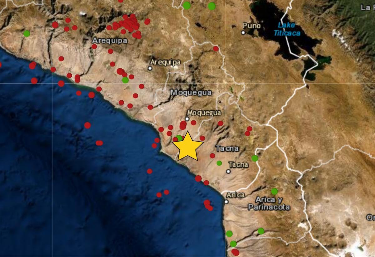Sismo de magnitud 4.1 se registró hoy en Locumba, región Tacna