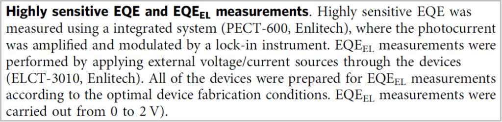 16% efficiency organic photovoltaic cells - EQE, EQE EL measurements
