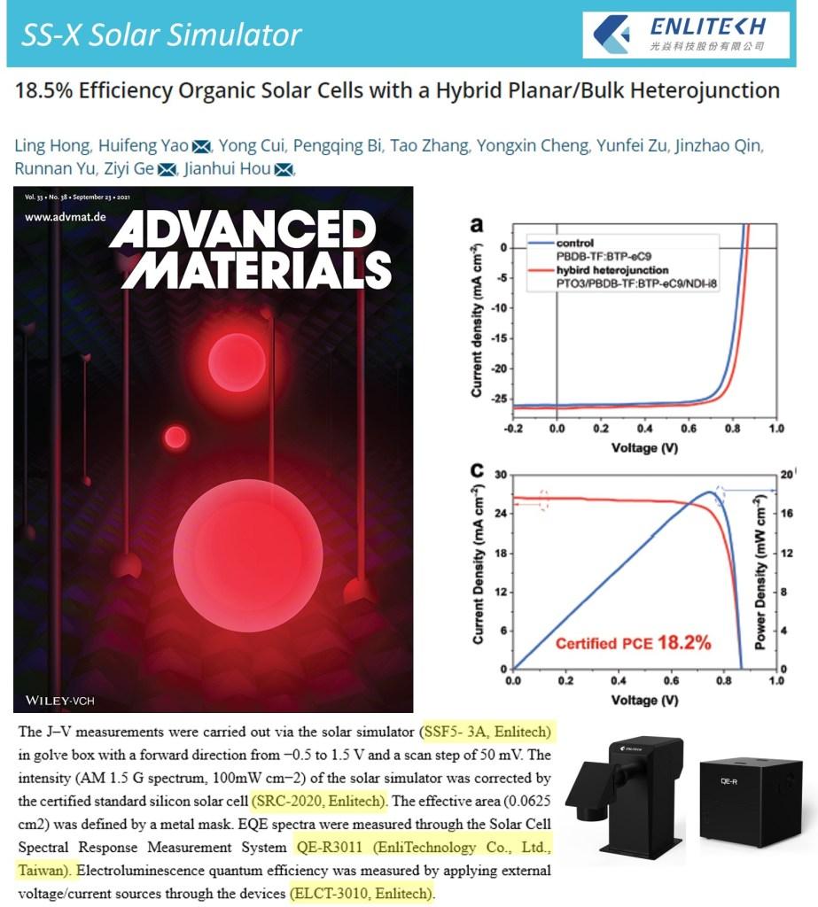 Solar Simulator Advance Materials OSC Hybrid PlanarBulk Heterojunction