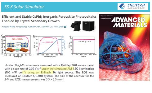 Adv. Mater. CsPbI3 Inorganic Perovskite Crystal 20% Efficiency Solar Simulator Quantum Efficiency_co