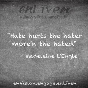 """Quote on enLiven Wellness Coaching chalkboard reading, Hate hurts the hater more'n the hated."""" - Madeleine L'Engle"""
