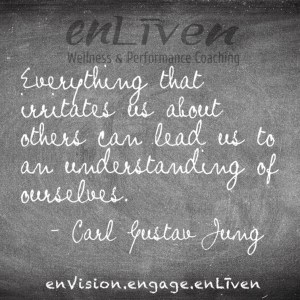 """Quote on enLiven Wellness Coaching chalkboard reading, """"Everything that irritates us about others can lead us to an understanding of ourselves."""" - Carl Gustav Jung"""