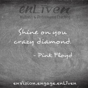 "Quote on enLiven Wellness Coaching chalkboard reading, ""Shine on you crazy diamond."" - Pink Floyd"