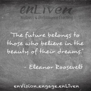 "Quote on enLiven Wellness Life Coaching chalkboard reading, ""The future belongs to those who believe in the beauty of their dreams."" Eleanor Roosevelt"