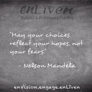 "Nelson Mandela quote on enLiven Wellness Life Coaching chalkboard reading, ""May your choices reflect your hopes, not your fears."" enliven wellness life coaching Toledo. Life Coach Todd Smith Blissfield"