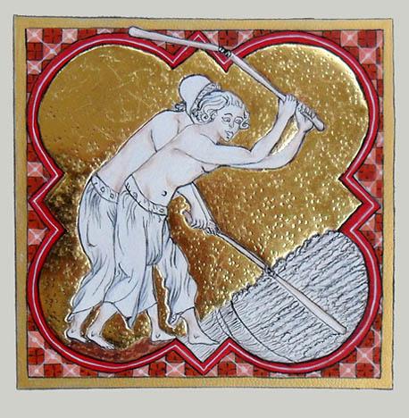 Le battage du blé (enluminure)