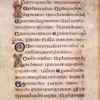 Page enluminée de l'évangile de Saint-Matthieu (folio 100v du livre de Kells).