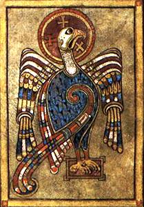 Livre de Kells – Tétramorphe : L'aigle (Saint Jean)