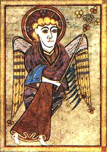 Livre de Kells – Tétramorphe : L'homme (Saint Mathieu)