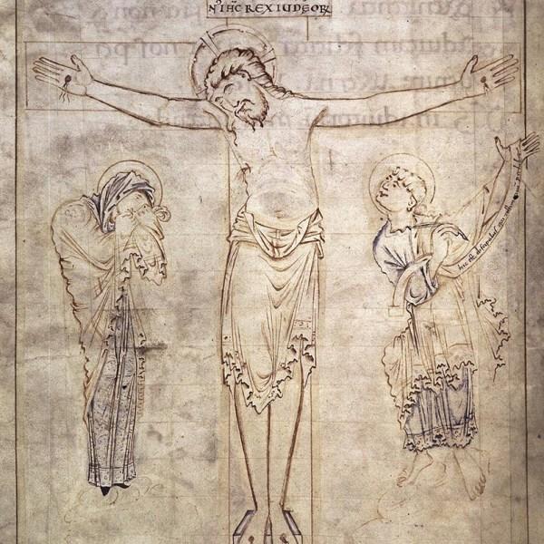 Psautier d'Oswald - Folio 3v - Crucifixion