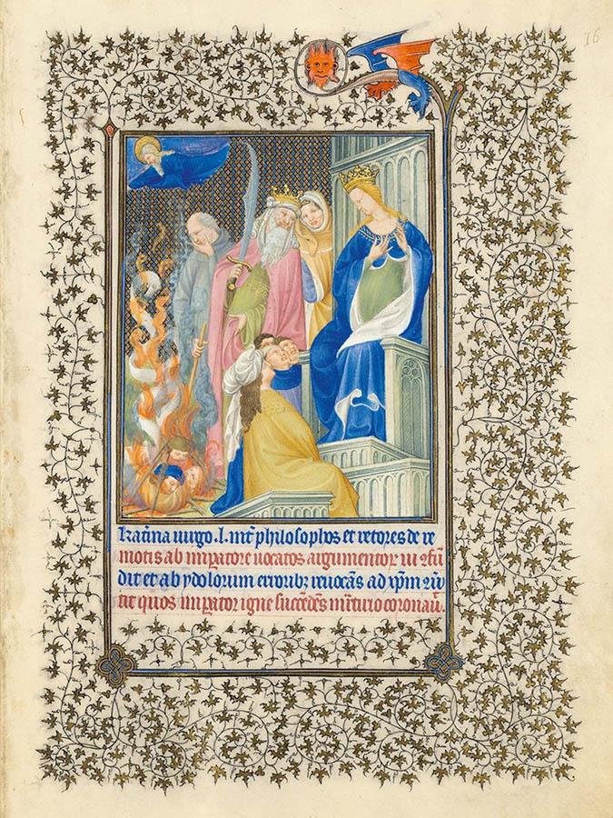 Belles heures du Duc de Berry - Sainte Catherine - Folio 16r