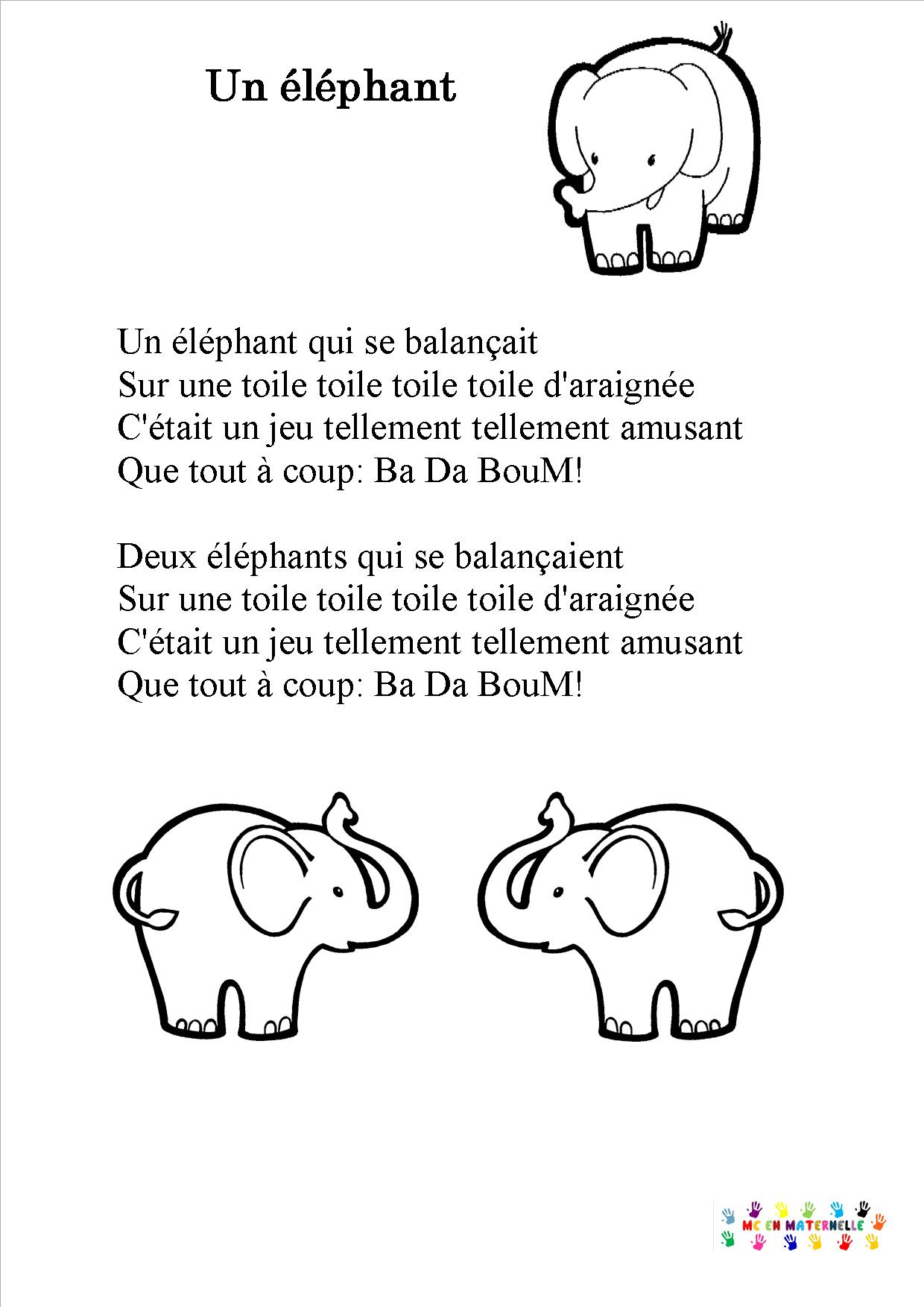 Un éléphant Qui Se Balancait : éléphant, balancait, Balançait, Maternelle