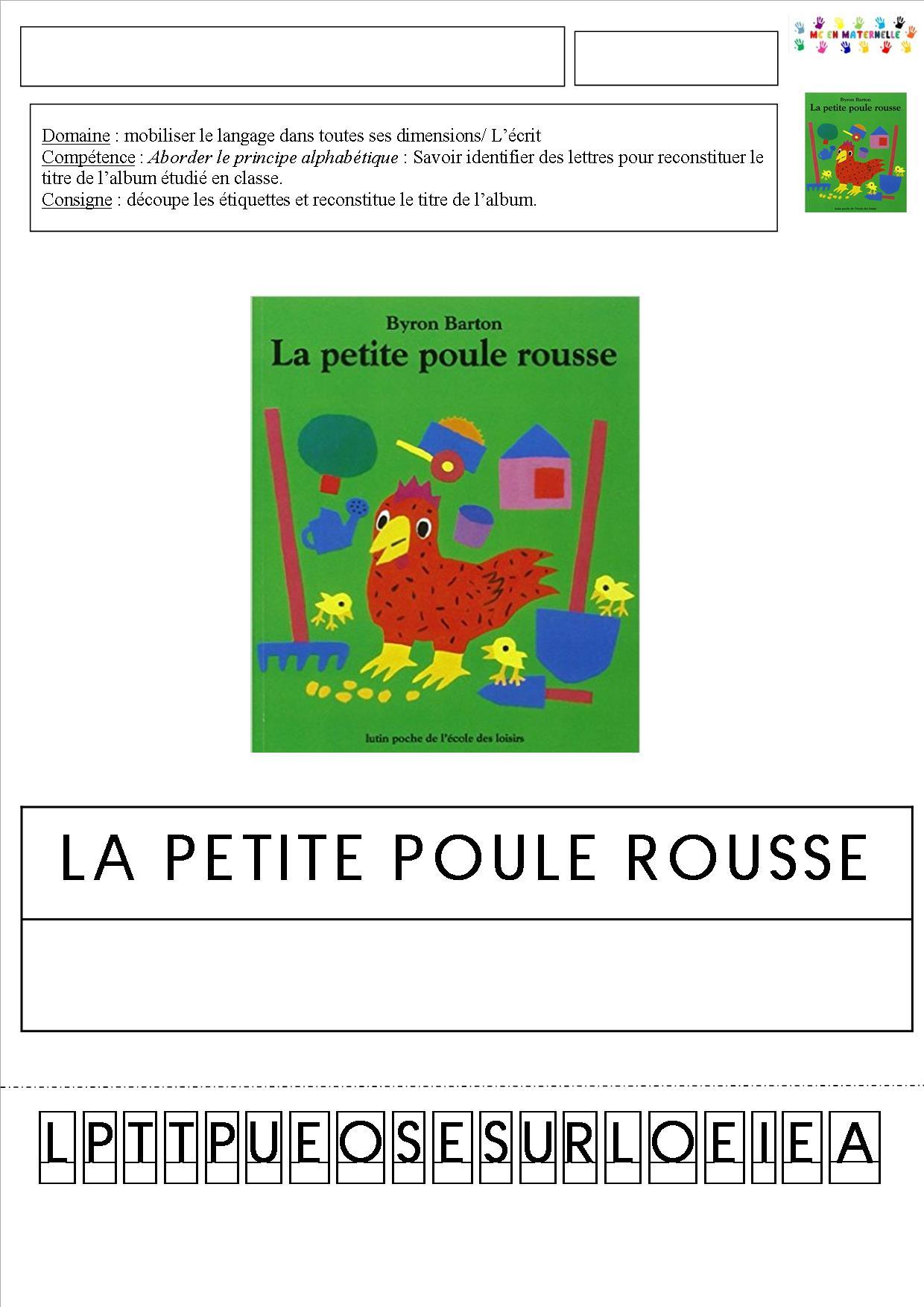 La Petite Poule Rousse Maternelle : petite, poule, rousse, maternelle, Petite, Poule, Rousse, Reconstituer, Titre, L'histoire, Plusieurs, Graphies, Possibles, Maternelle