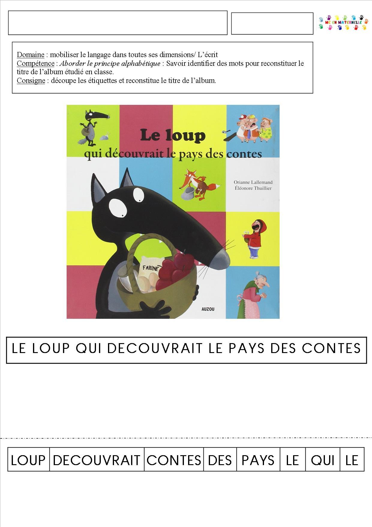 Loup Au Pays Des Contes : contes, Découvrait, Contes, Titre, L'histoire, Maternelle