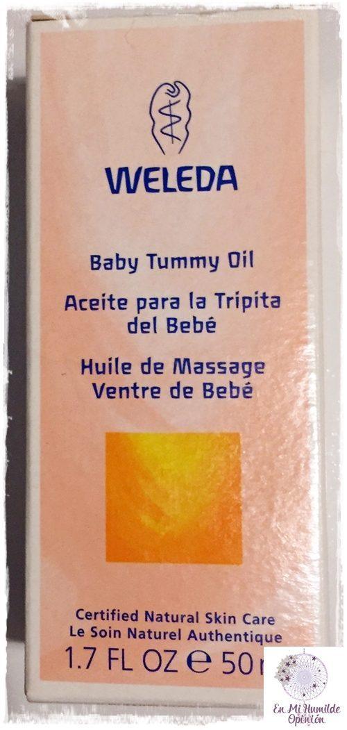 Aceite para la tripita del bebé de aceites esenciales de Weleda
