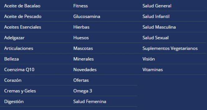 Categorías complementos nutricionales Simply Supplements
