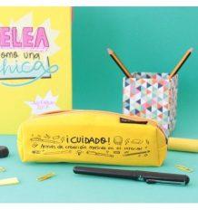 Estuche para lápices amarillo ¡Cuidado! Armas de creación masiva en el interior Pedrita Parker