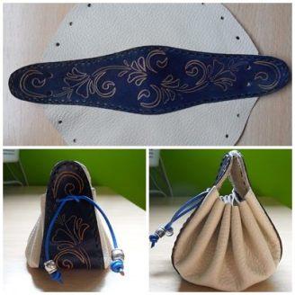 Bolsa de judas azul y blanca con dibujo